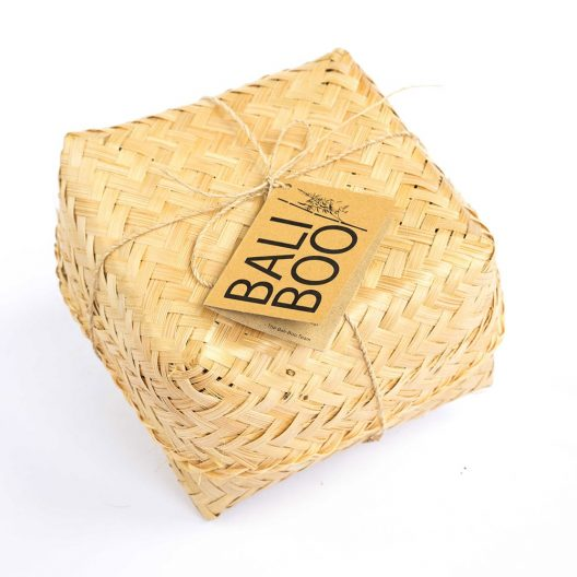 Our coconut bowl comes in a cute handmade bamboo basket