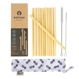 bamboo straws pack, includes 2 cleaning brushes, 1 cotton pouch, in a recyclable packaging