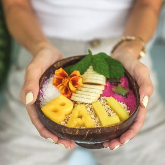 bali on a coconut bowl