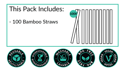 Bamboo Straws - Pack of 100 by Bali Boo