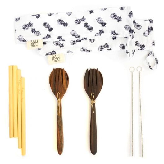 Bali Boo Coconut Bowls DUO Set by Bali Boo - the Bali Boo Coconut Bowls DUO Set includes 2 cutlery sets, 4 bamboo straws, 2 cleaning brushes, and 2 cotton pouches to take everything with you wherever you go!