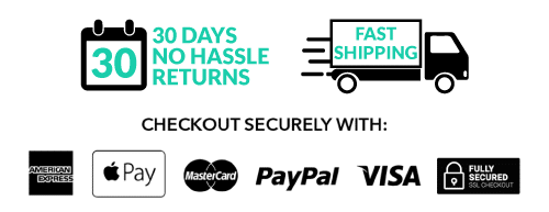30 day free returns, fast shipping and secure checkout logos